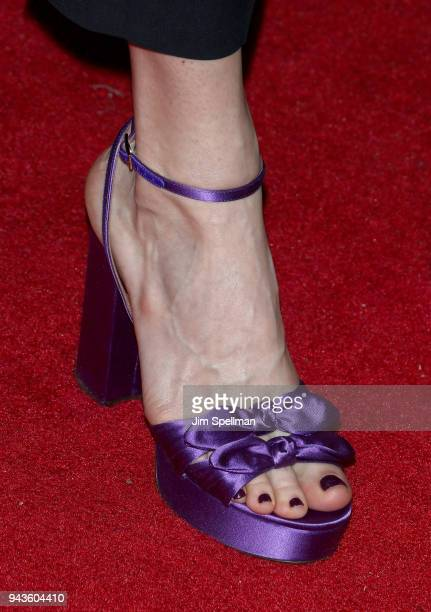 Actress Liv Tyler shoe detail attends the screening of IFC Midnight's 'Wildling' hosted by The Cinema Society and Gemfields at iPic Theater on April...