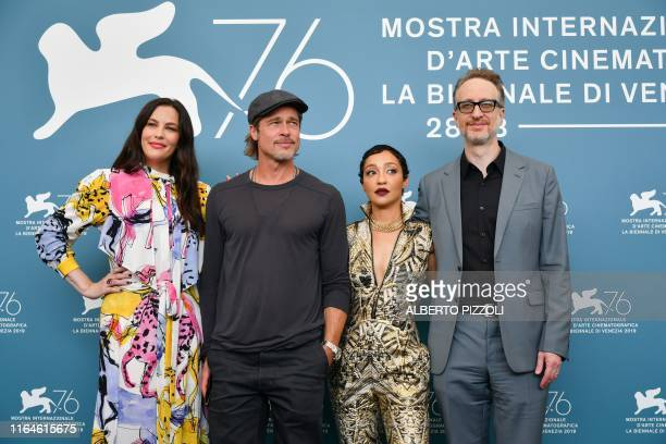 US actress Liv Tyler US actor Brad Pitt EthiopianIrish actress Ruth Negga and US director James Gray attend a photocall on August 29 2019 for the...