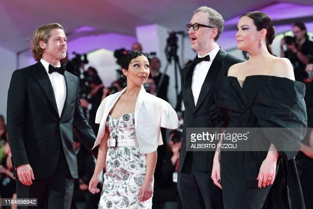 TOPSHOT US actress Liv Tyler US director James Gray EthiopianIrish actress Ruth Negga and US actor Brad Pitt arrive on August 29 2019 for the...