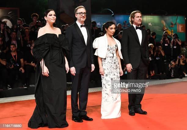 US actress Liv Tyler US director James Gray EthiopianIrish actress Ruth Negga and US actor Brad Pitt arrive on August 29 2019 for the screening of...