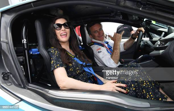 Actress Liv Tyler with Alejandro Agag CEO Formula E on July 14 2018 in New York United States
