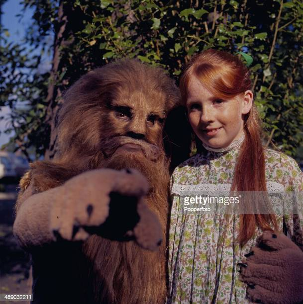 1967 Actress Liz Crowther as 'Lucy' and Bernard Kay as 'Aslan' the lion on the set of the 1967 television production of 'The Lion The Witch and the...