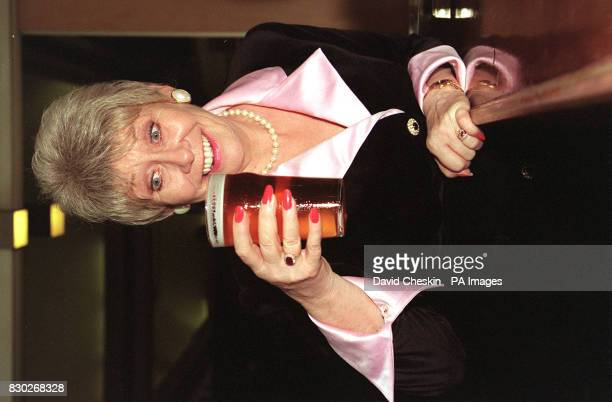 Actress Liz Dawn, who plays Vera Duckworth, with a pint in London this afternoon after the news that her character in the ITV soap opera Coronation...