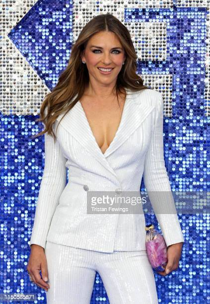 "Actress Liz Hurley attends the ""Rocketman"" UK premiere at Odeon Luxe Leicester Square on May 20, 2019 in London, England."
