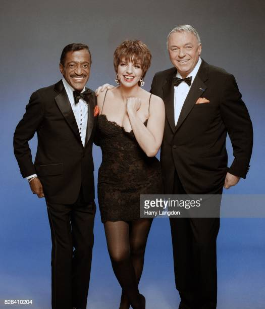 Actress Liza Minnelli Sammy Davis Jr and Frank Sinatra pose for a portrait in 1988 in Los Angeles California