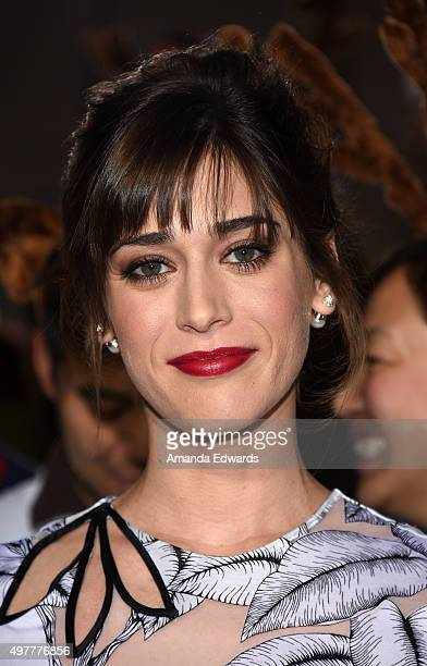 Actress Lizzy Caplan arrives at the premiere of Columbia Pictures' The Night Before at The Theatre at The Ace Hotel on November 18 2015 in Los...