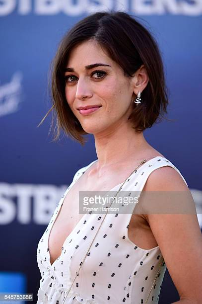 "Actress Lizzy Caplan arrives at the Premiere of Sony Pictures' ""Ghostbusters"" at TCL Chinese Theatre on July 9, 2016 in Hollywood, California."