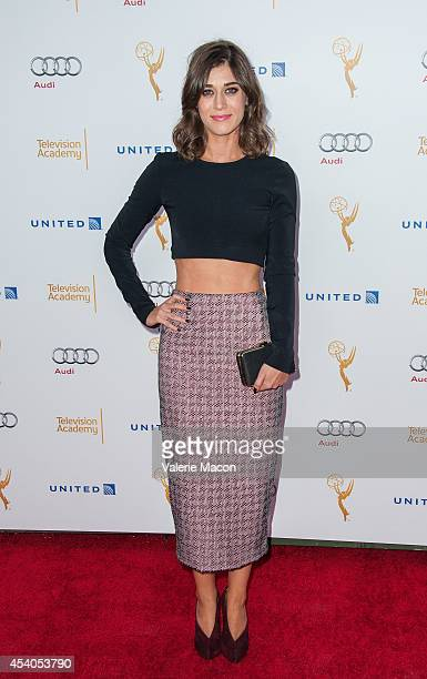 Actress Lizzy Caplan arrives at the Television Academy's 66th Annual Emmy Awards Performers Nominee Reception at Spectra by Wolfgang Puck at the...