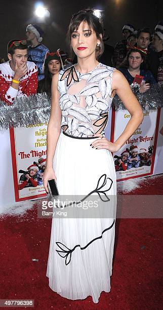 Actress LIzzy Caplan attends premiere of Columbia Pictures' 'The Night Before' at The Theatre At The Ace Hotel on November 18 2015 in Los Angeles...