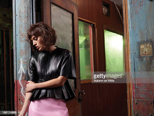 Actress Lizzy Caplan is photographed for Flare Magazine on October 2 2013 in Los Angeles California
