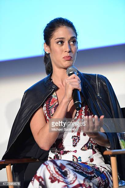 Actress Lizzy Caplan speaks at the screening of Showtime and Sony Pictures Television's 'Masters Of Sex' at the Cary Grant Theater on May 5 2015 in...
