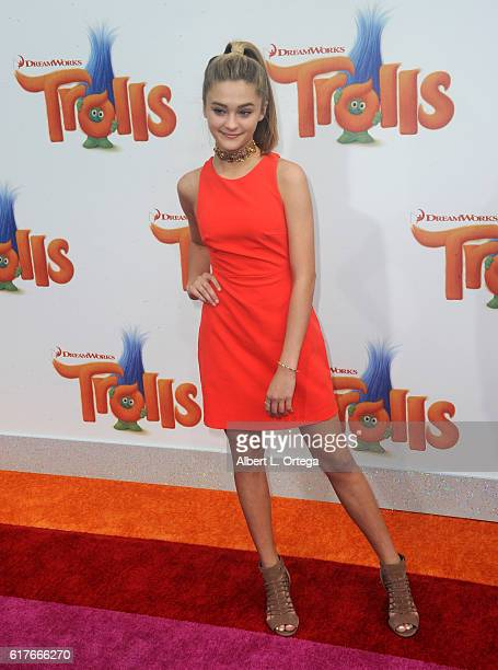 Actress Lizzy Greene arrives for the Premiere Of 20th Century Fox's 'Trolls' held at Regency Village Theatre on October 23 2016 in Westwood California
