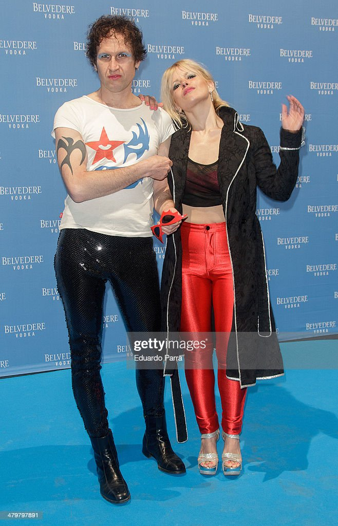 Actress Lluvia Rojo and Kevin attend Belvedere Vodka party photocall at Principe Pio train station on March 20, 2014 in Madrid, Spain.