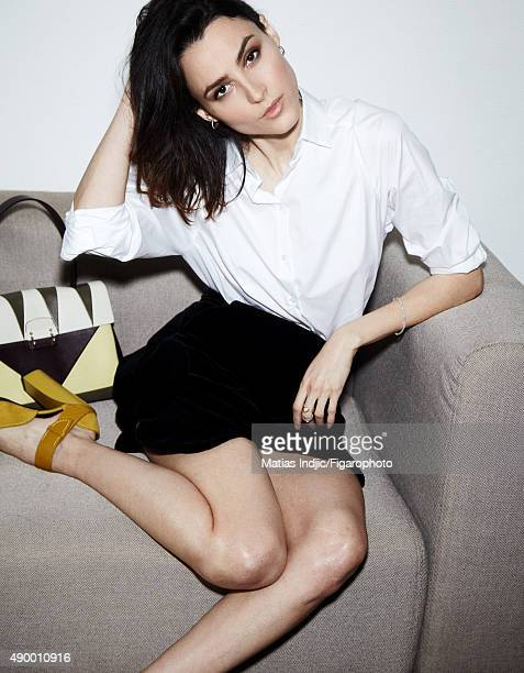 Actress Loan Chabanol is photographed for Madame Figaro on May 16 2015 in Paris France Shirt skirt earrings ring and bracelet bag shoe PUBLISHED...