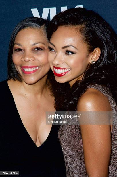 Actress Logan Browning and her Mother Lynda Browning attend the premiere of VH1's 'Hit The Floor' Season 3 at The Paramount Theater on the Paramount...