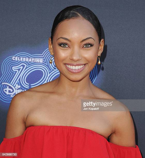 Actress Logan Browning arrives at the Premiere Of 100th Disney Channel Original Movie Adventures In Babysitting And Celebration Of All DCOMS at...