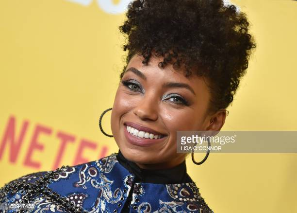 """Actress Logan Browning arrives for the premiere of Netflix's """"Dear White People"""" Season 3 at Regal Cinemas LA Live in Los Angeles on August 1, 2019."""