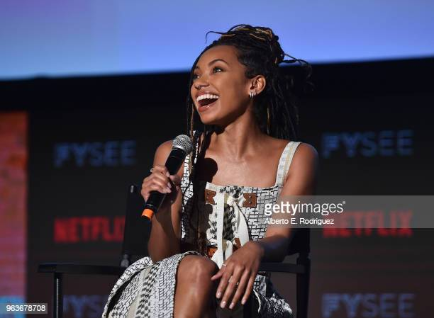 Actress Logan Browning attends Comediennes: In Conversation at Netflix FYSEE at Raleigh Studios on May 29, 2018 in Los Angeles, California.