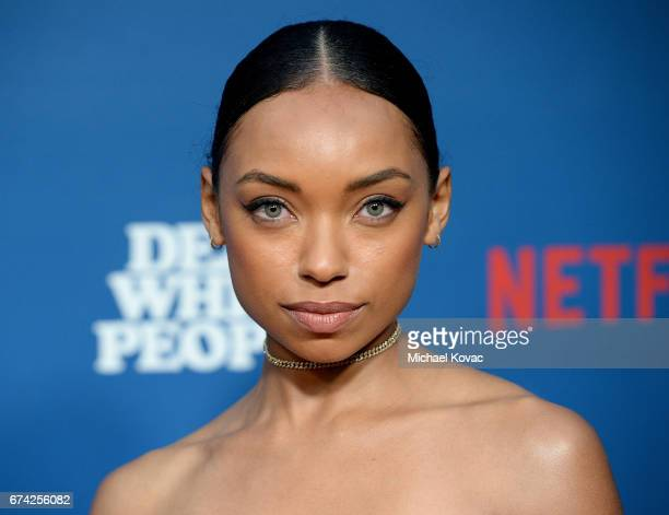 Actress Logan Browning attends the premiere of Netflix's Dear White People at Downtown Independent on April 27 2017 in Los Angeles California