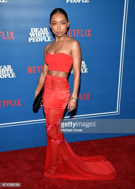 Actress Logan Browning attends the premiere of Netflix's 'Dear White People' at Downtown Independent on April 27 2017 in Los Angeles California