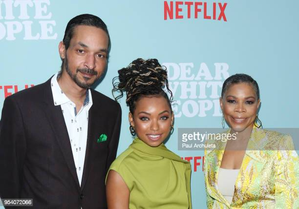Actress Logan Browning Brother Chad Browning and Mother Lynda Browning attend the screening of Netflix's Dear White People season 2 at ArcLight...