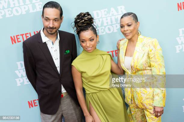 Actress Logan Browning Brother Chad Browning and Mother Lynda Browning attend the Dear White People Season 2 Special Screening on May 2 2018 in...