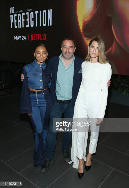 Actress Logan Browning producer/director/cowriter Richard Shepard and actress Allison Williams attend the Netflix LA special screening of THE...
