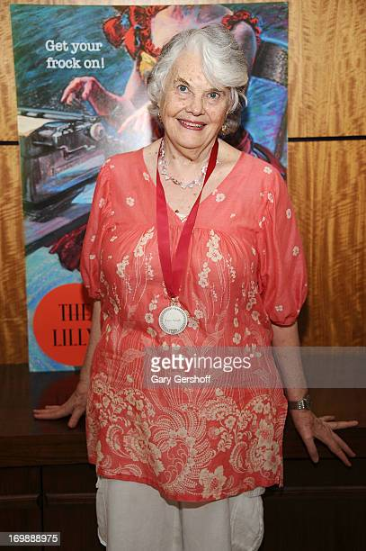 Actress Lois Smith recipient of the Lifetime Achievement in Acting Award backstage at The Lilly Awards at Playwrights Horizons on June 3 2013 in New...