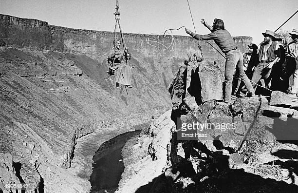Actress Lola Albright films the ravine scene for the film 'The Way West' USA circa 1967 Possibly at Crooked River Gorge in Oregon