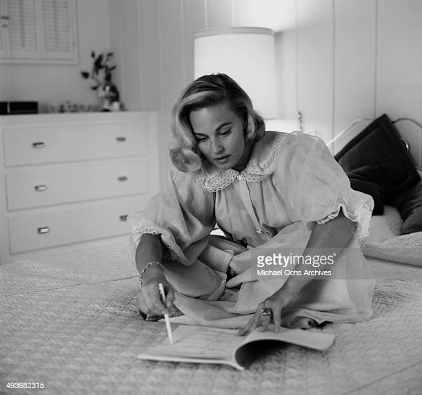 Actress Lola Albright poses at home in Los Angeles California