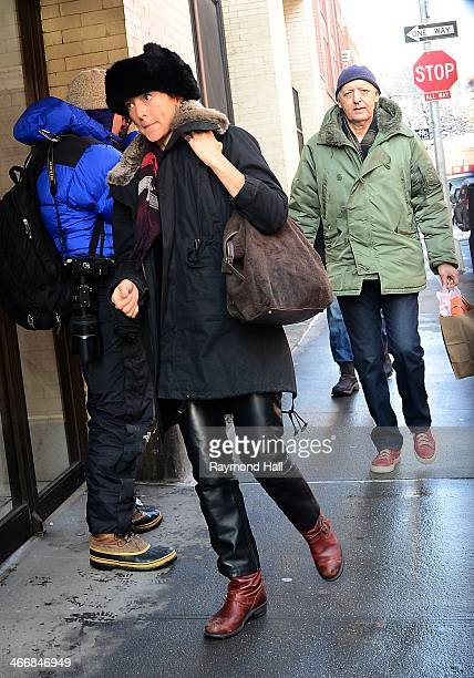 Actress Lola Glaudini is seen outside actor Philip Seymour Hoffman's expartner Mimi O'Donnell's apartment on February 4 2014 in New York City