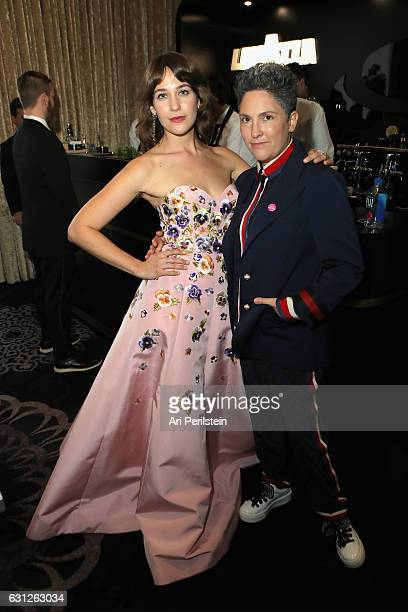 Actress Lola Kirke and writerproducer Jill Soloway attend the 74th Annual Golden Globe Awards sponsored by Lavazza an Italian coffee brand at The...