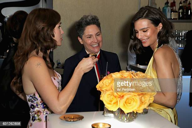 Actress Lola Kirke writerproducer Jill Soloway and actress Emily Ratajkowski attend the 74th Annual Golden Globe Awards sponsored by Lavazza an...