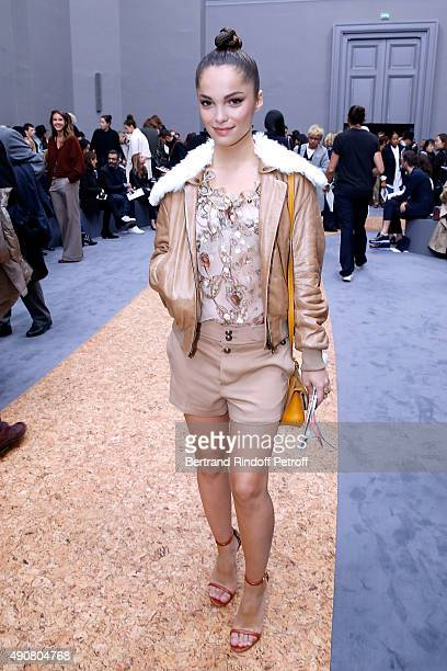Actress Lola Le Lann attends the Chloe show as part of the Paris Fashion Week Womenswear Spring/Summer 2016. Held at Grand Palais on October 1, 2015...