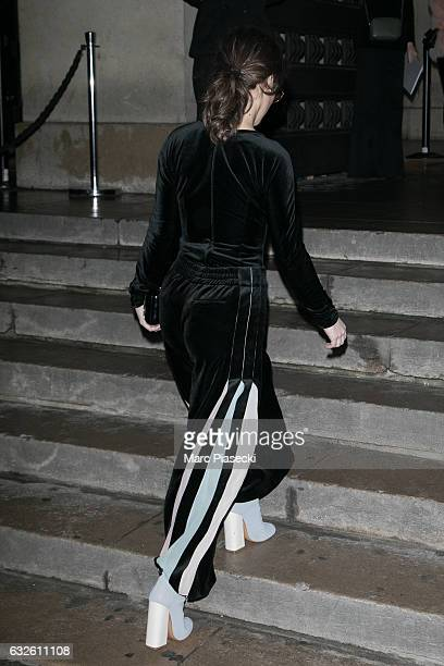 Actress Lola Le Lann attends the Giorgio Armani Prive Haute Couture Spring Summer 2017 show as part of Paris Fashion Week on January 24 2017 in Paris...