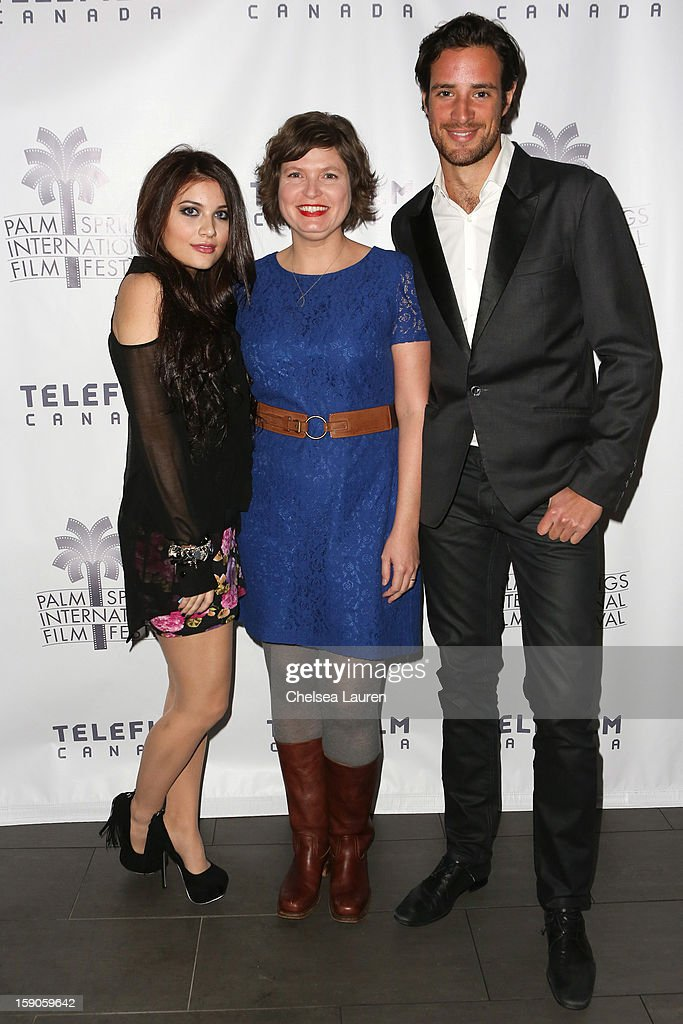 Actress Lola Tash, director Sara St. Onge and actor Charlie Carrick arrive at the Canadian film party at the 24th annual Palm Springs International Film Festival on January 6, 2013 in Palm Springs, California.