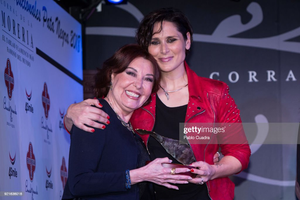 Actress Loles Leon and Spanish singer Rosa Lopez (R) attend the 'Pata Negra' awards at the Corral de la Moreria club on February 20, 2018 in Madrid, Spain.