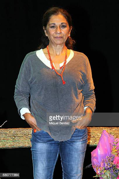 Actress Lolita Flores poses for the photographers during 'La Plaza del Diamante' of Merce Rodoreda and celebrates her 200th representation at Goya...
