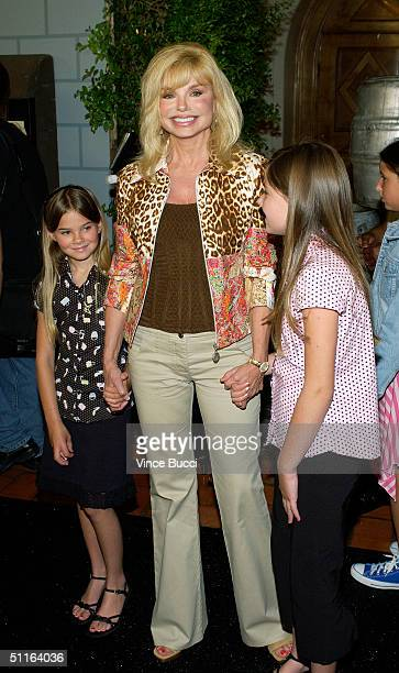 Actress Loni Anderson and guests attends a reception after the ceremony honoring actors Penny Marshall and Cindy Williams each with a star on the...