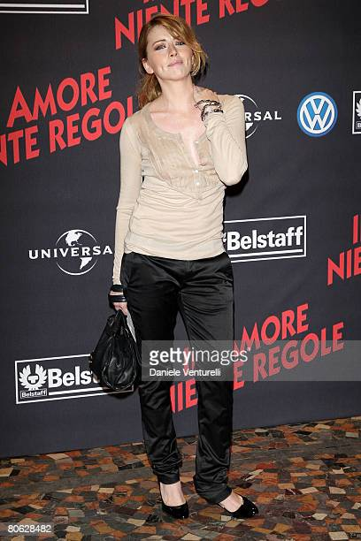 Actress Loredana Cannata attends the 'Leatherheads' premiere at the Warner Cinema Moderno on April 10 2008 in Rome Italy