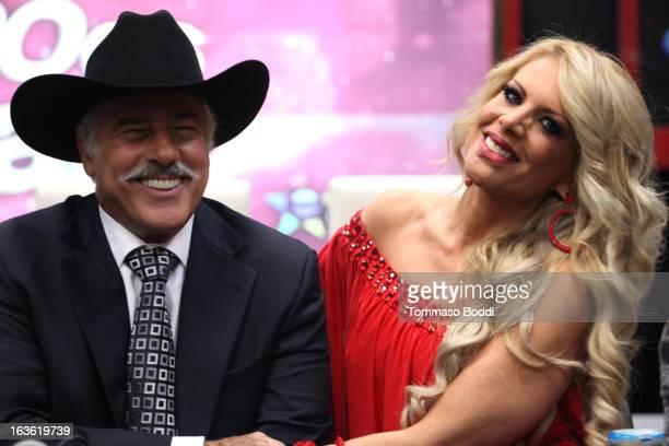 Actress Lorena Herrera and actor Andres Garcia attend the 'Mi Sueno Es Bailar' season 4 press conference on March 13 2013 in Burbank California