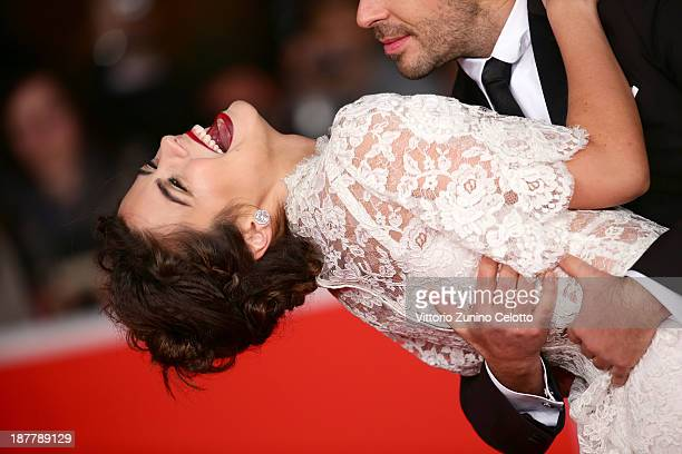 Actress Lorenza Izzo and director Eli Roth attend 'The Green Inferno' Premiere during The 8th Rome Film Festival at Auditorium Parco Della Musica on...