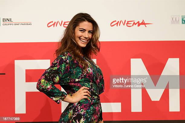 Actress Lorenza Izzo attends the 'The Green Inferno' Photocall during the 8th Rome Film Festival at the Auditorium Parco Della Musica on November 12...