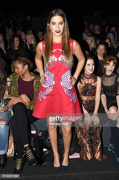 Actress Lorenza Izzo attends the Vivienne Tam Fall 2016 fashion show during New York Fashion Week The Shows at The Arc Skylight at Moynihan Station...