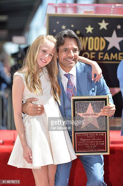 Actress Loreto Peralta helps honor fellow actor Eugenio Derbez as he is honored with a star on The Hollywood Walk of Fame on March 10 2016 in...