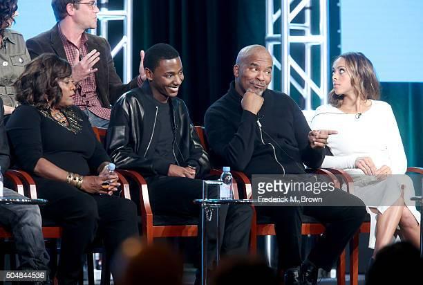 Actress Loretta Devine Executive producer/actor Jerrod Carmichael actors David Alan Grier and Amber Stevens West speak onstage during 'The Carmichael...
