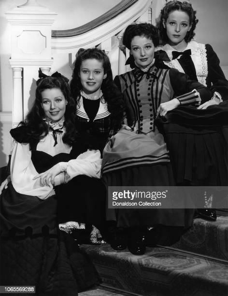 """Actress Loretta Young, Polly Ann Young, Gergianna Young and Sally Blaine in a scene from the movie """"The Story of Alexander Graham Bell"""""""
