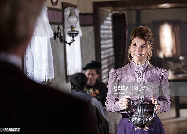 Actress Lori Loughlin and Actor Jack Wagner filming a scene for the new TV series When Calls the Heart on February 20 2014 in Vancouver Canada