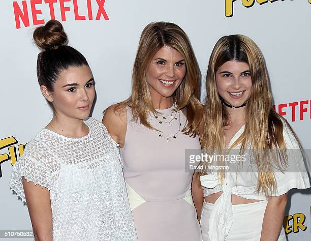 Actress Lori Loughlin and daughters Isabella Giannulli and Olivia Giannulli attend the premiere of Netflix's Fuller House at Pacific Theatres at The...