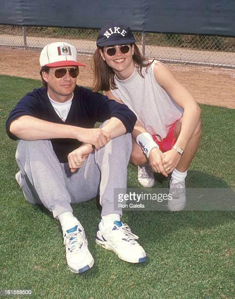 Actress Lori Loughlin and husband Michael Burns attend the Celebrity Softball Game on April 13 1992 at Pepperdine University in Malibu California